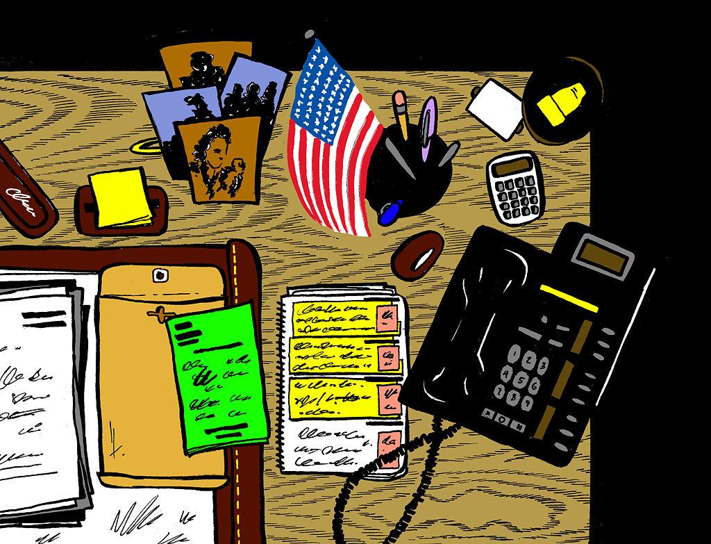 Karen Miller's desk is unusually cluttered