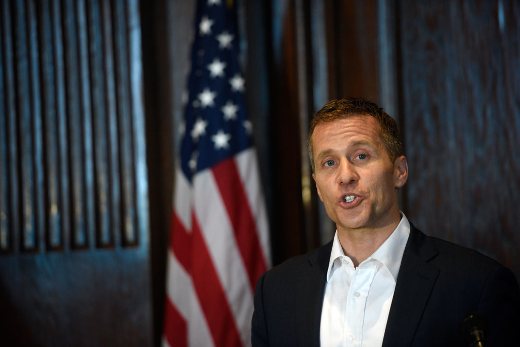 Gov. Eric Greitens speaks to the media at conclusion of 2017 legislative session
