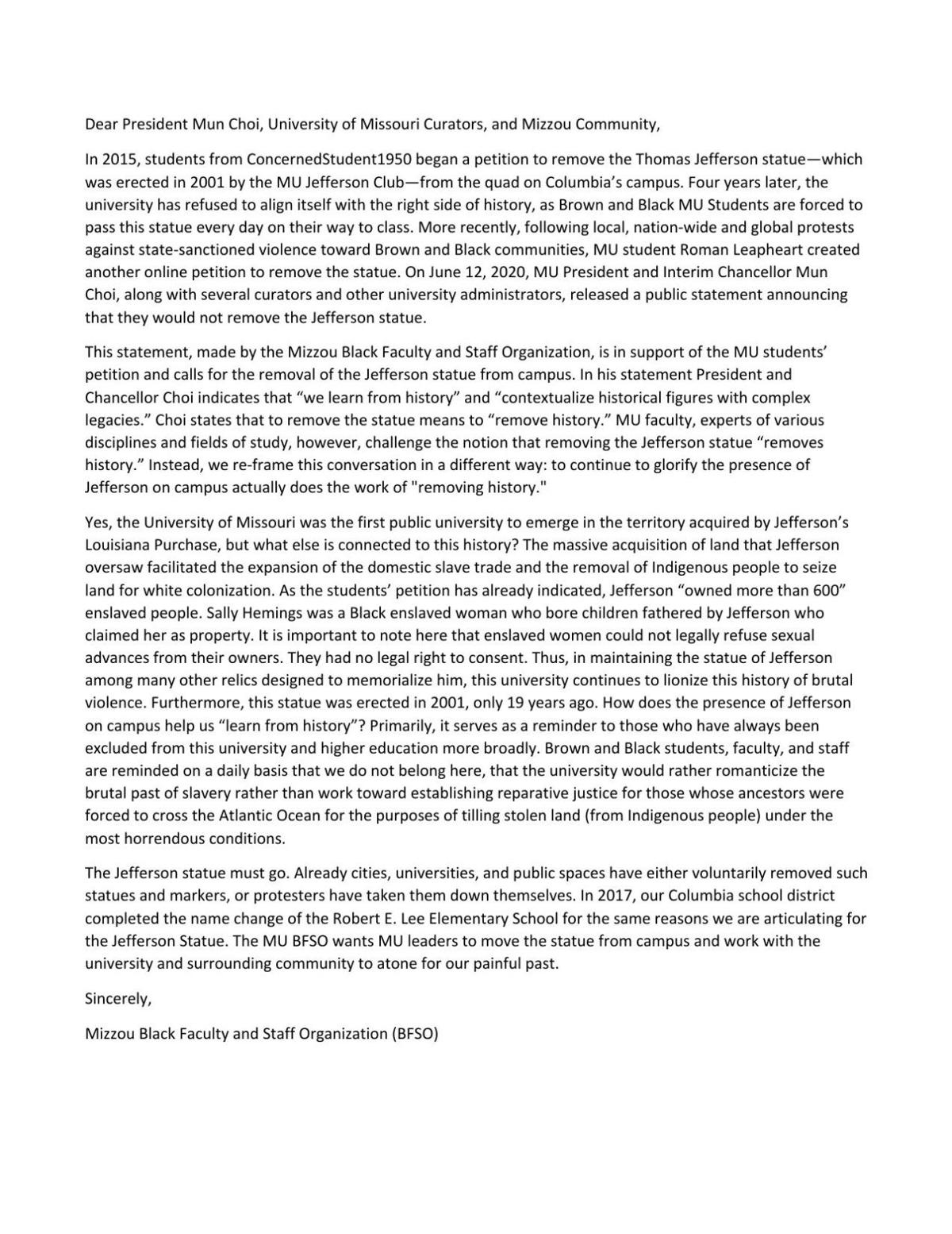 Letter from MU's Black Faculty and Staff Organization