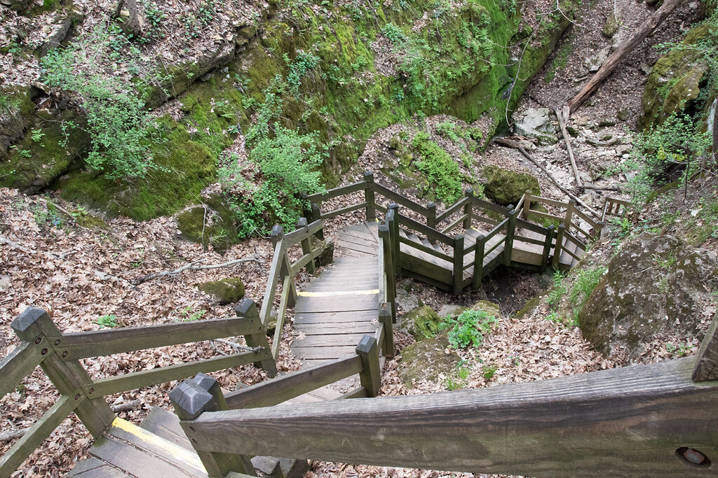 A large set of stairs lines the hill at the Devil's Icebox