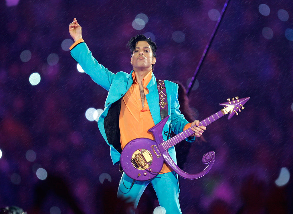 Prince performs during the halftime show at the Super Bowl XLI