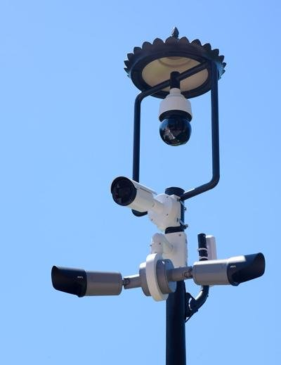 A new security camera sits on the corner of Ninth and Elm