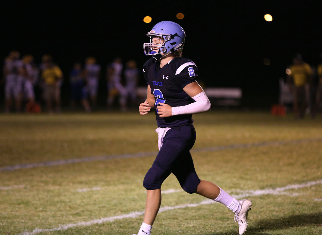 Tolton High School's Gabe Pfenenger runs on the field during the game against  St. Francis Borgia High School on Friday, September 13, 2019 in Columbia.