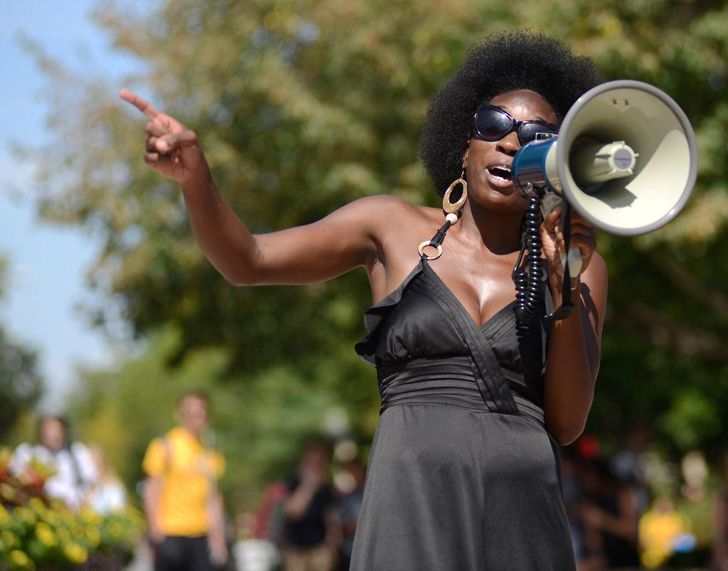 Danielle Walker speaks at rally