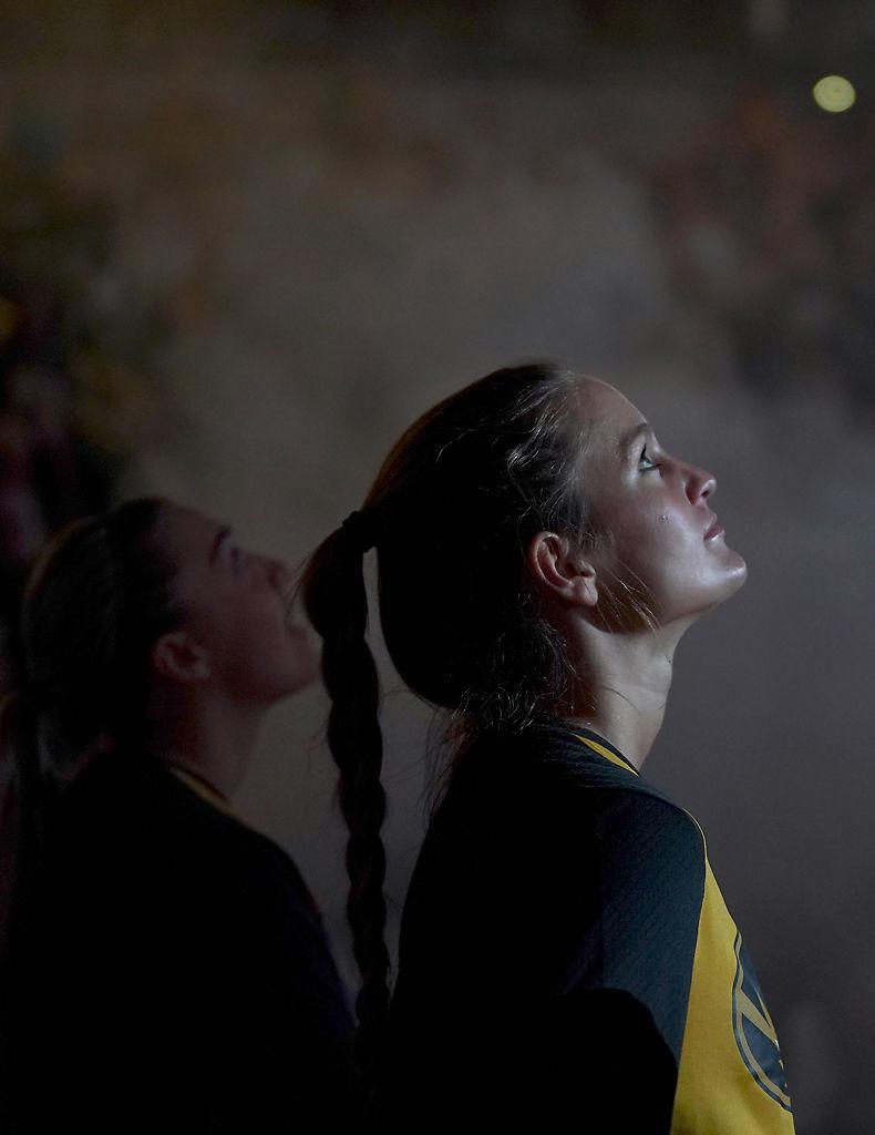 Missouri's Kelsey Winfrey watches a intro video