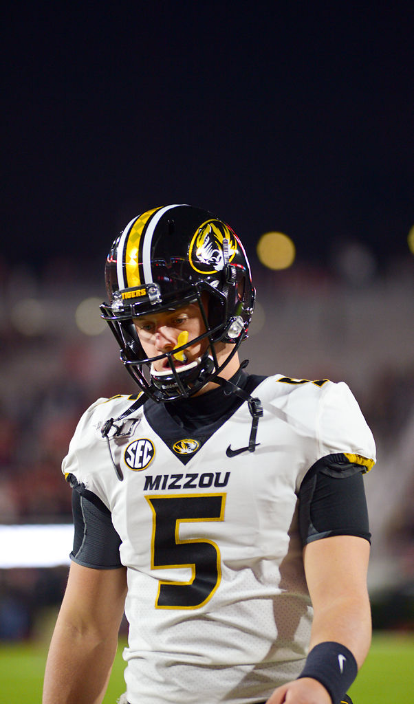 Missouri quarterback Taylor Powell looks at the field during warmups