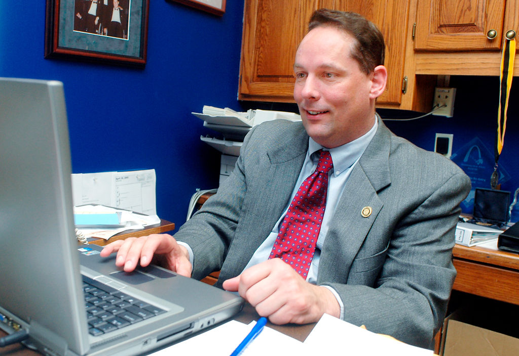 Chuck Graham, D-Columbia, checks an online newspaper Wednesday