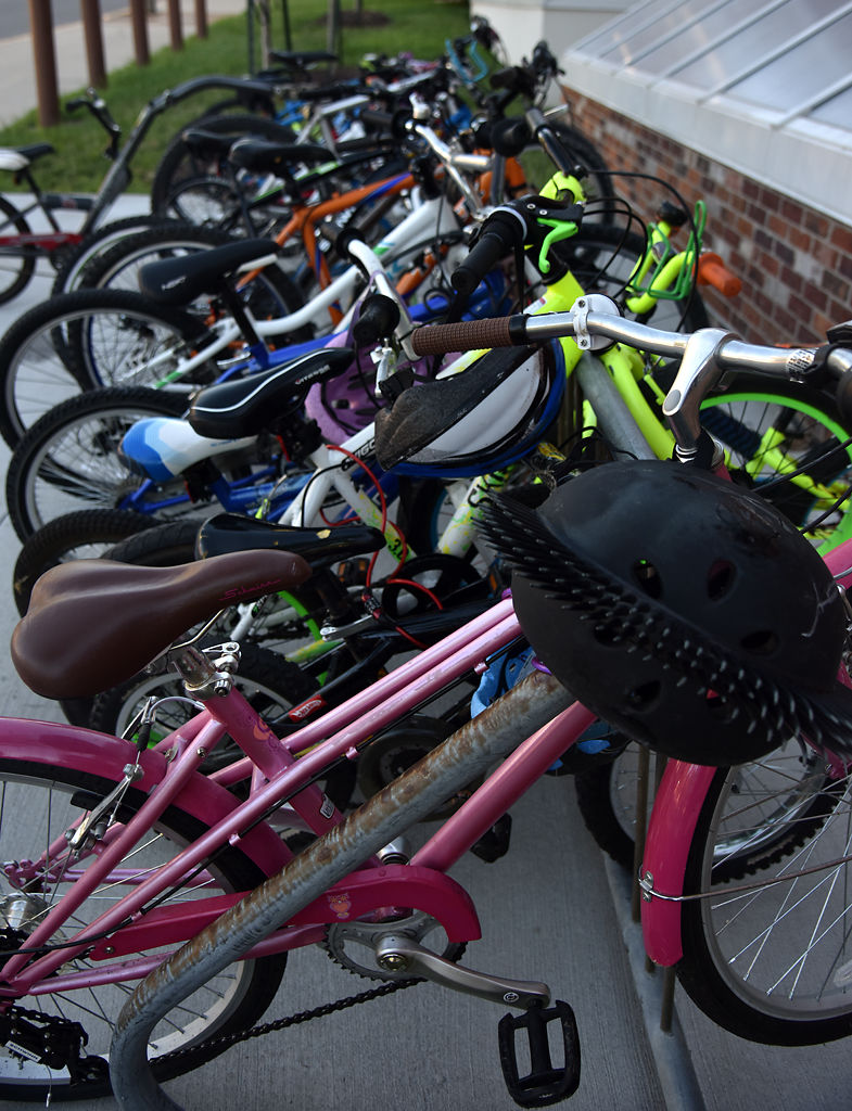 The bikes of Grant Elementary students sit in a row along the bike rack