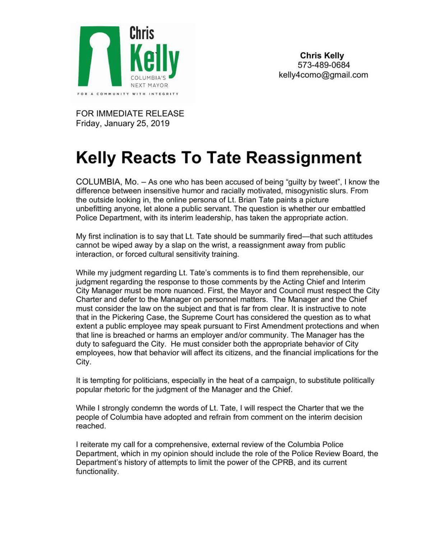 Chris Kelly on Lt. Tate