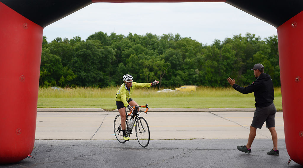 Missy Brooks curves right through the finish line archway
