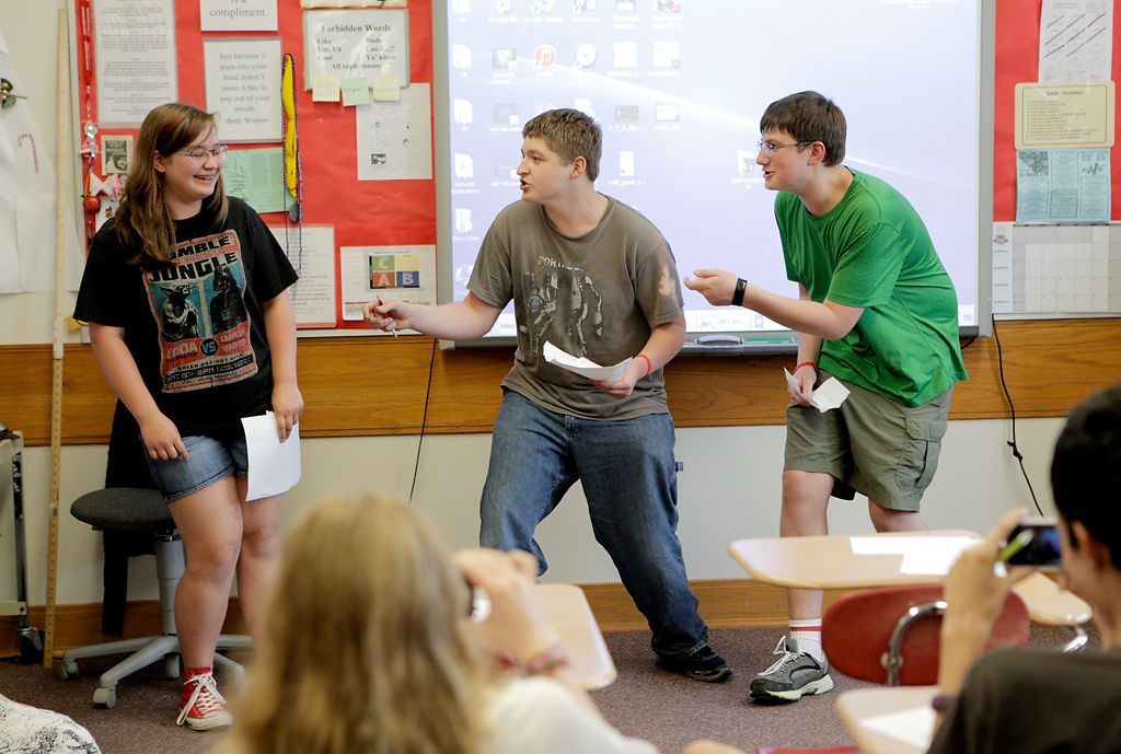 Jefferson Middle School eighth-graders perform a parody