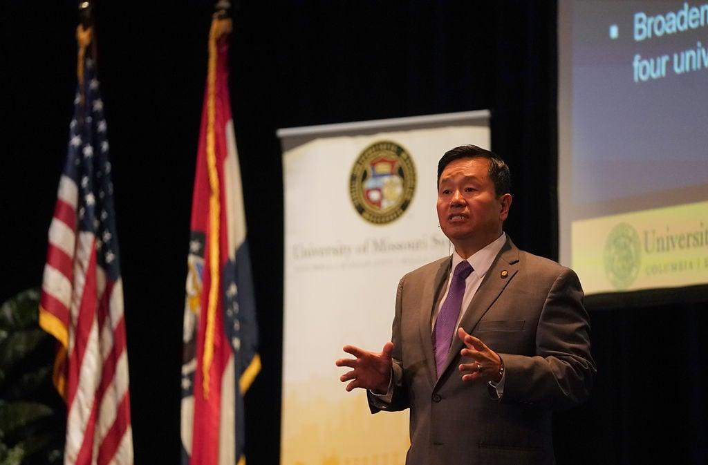 UM System President Mun Choi gives a speech