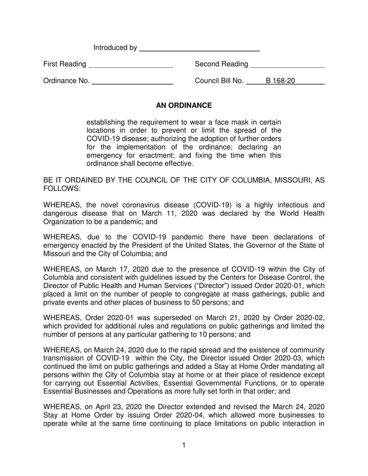 Proposed mask ordinance