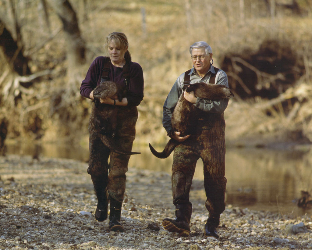 Glenn and Jeannie Chambers walk with their otters.