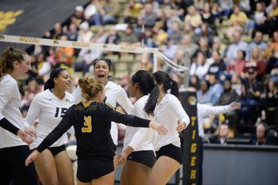 Missouri Volleyball team celebrates