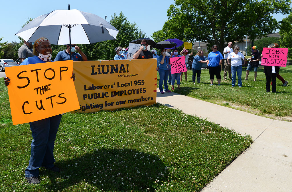 Laborers Local 955, Missouri Jobs with Justice and other supporters join MU workers for a picket and demonstration