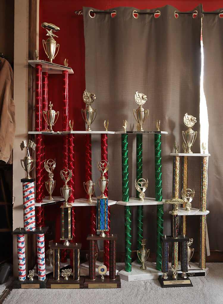 Demolition derby trophies are on display
