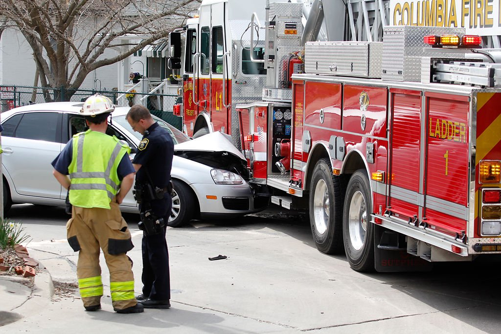 Car smashes into Columbia firetruck Saturday afternoon (copy)