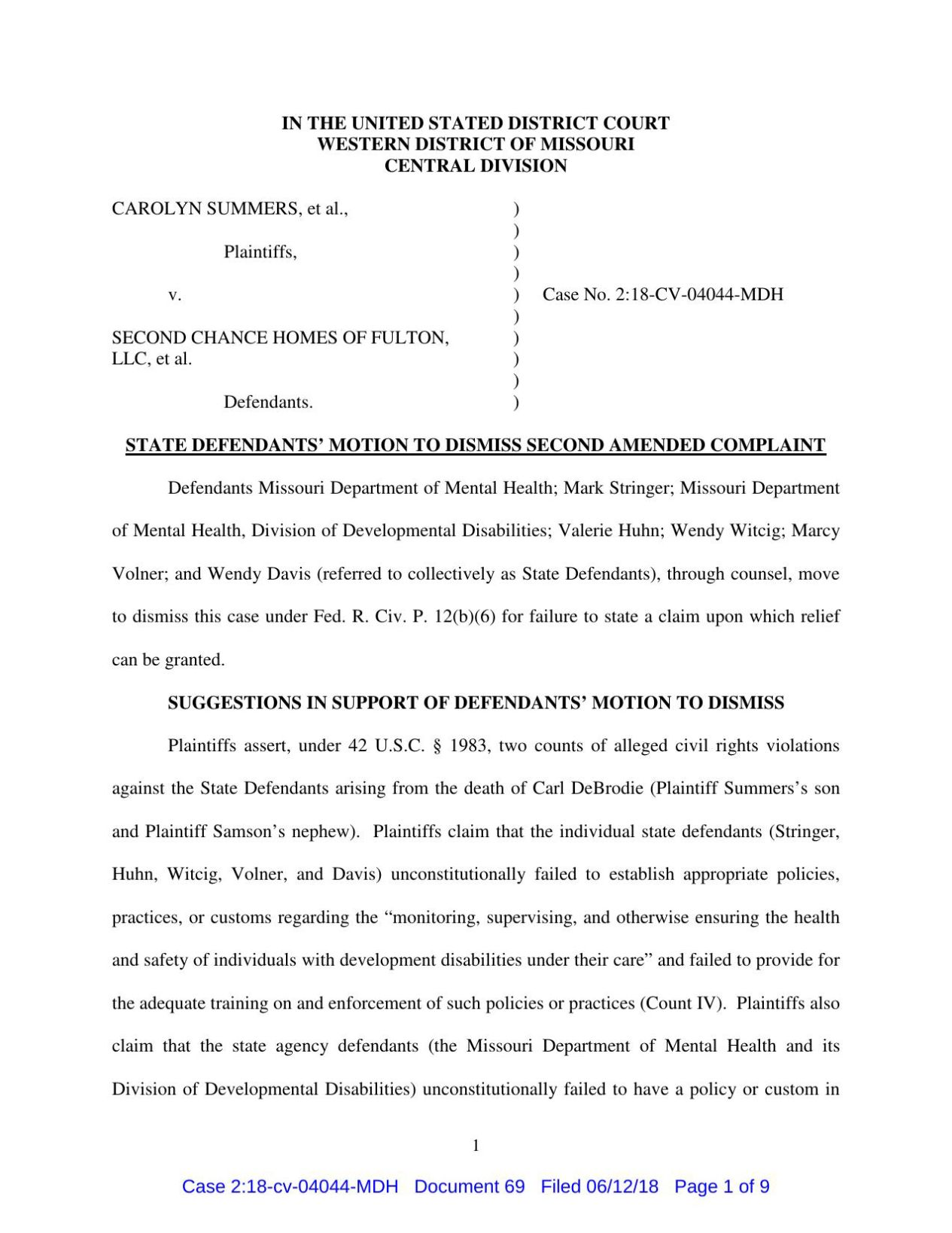 Hawley Motion to Dismiss, June 12, 2018