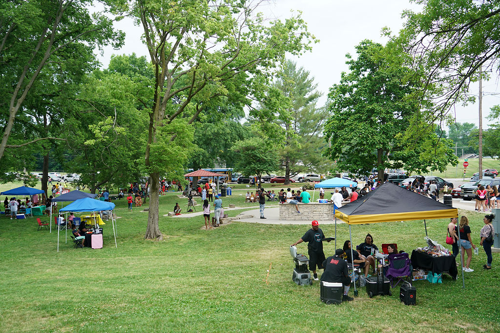 Many people gather Friday at Douglass Park to celebrate Juneteenth