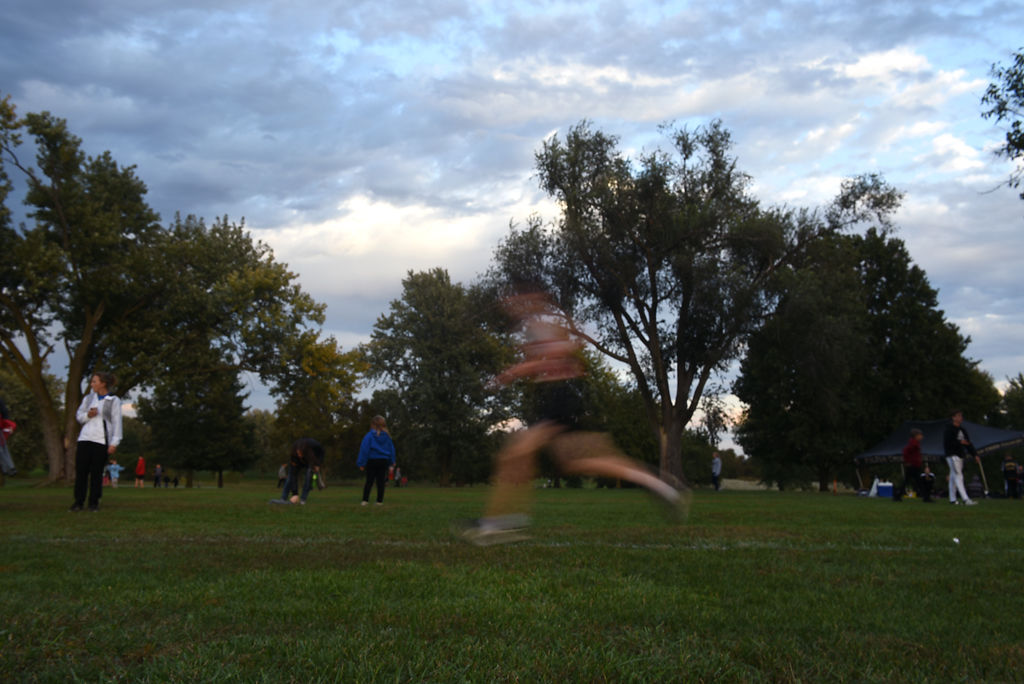 A cross country athlete runs in the Centralia Invitational