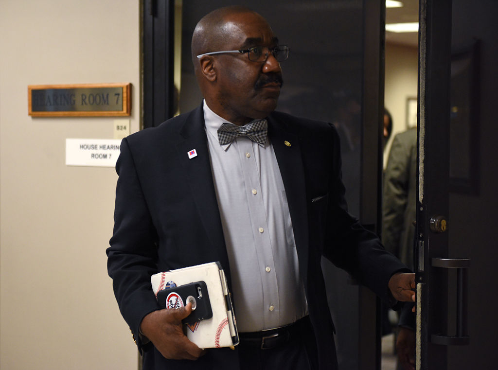 Rep. Jerome Barnes, D-Raytown, exits hearing room