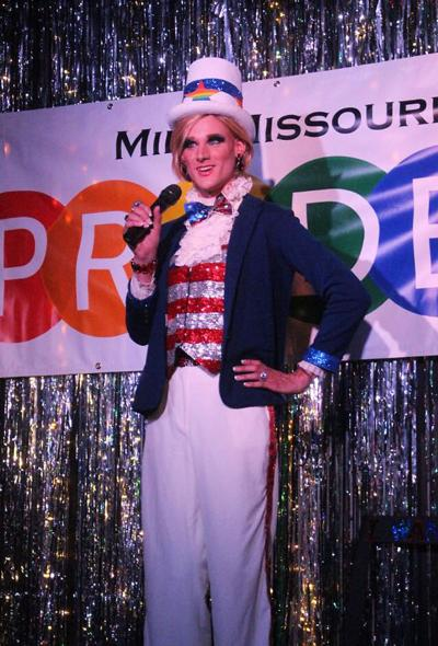 Venus O'Hara performs as Uncle Sam in the presentation category of the 2018 PrideFest Pageant