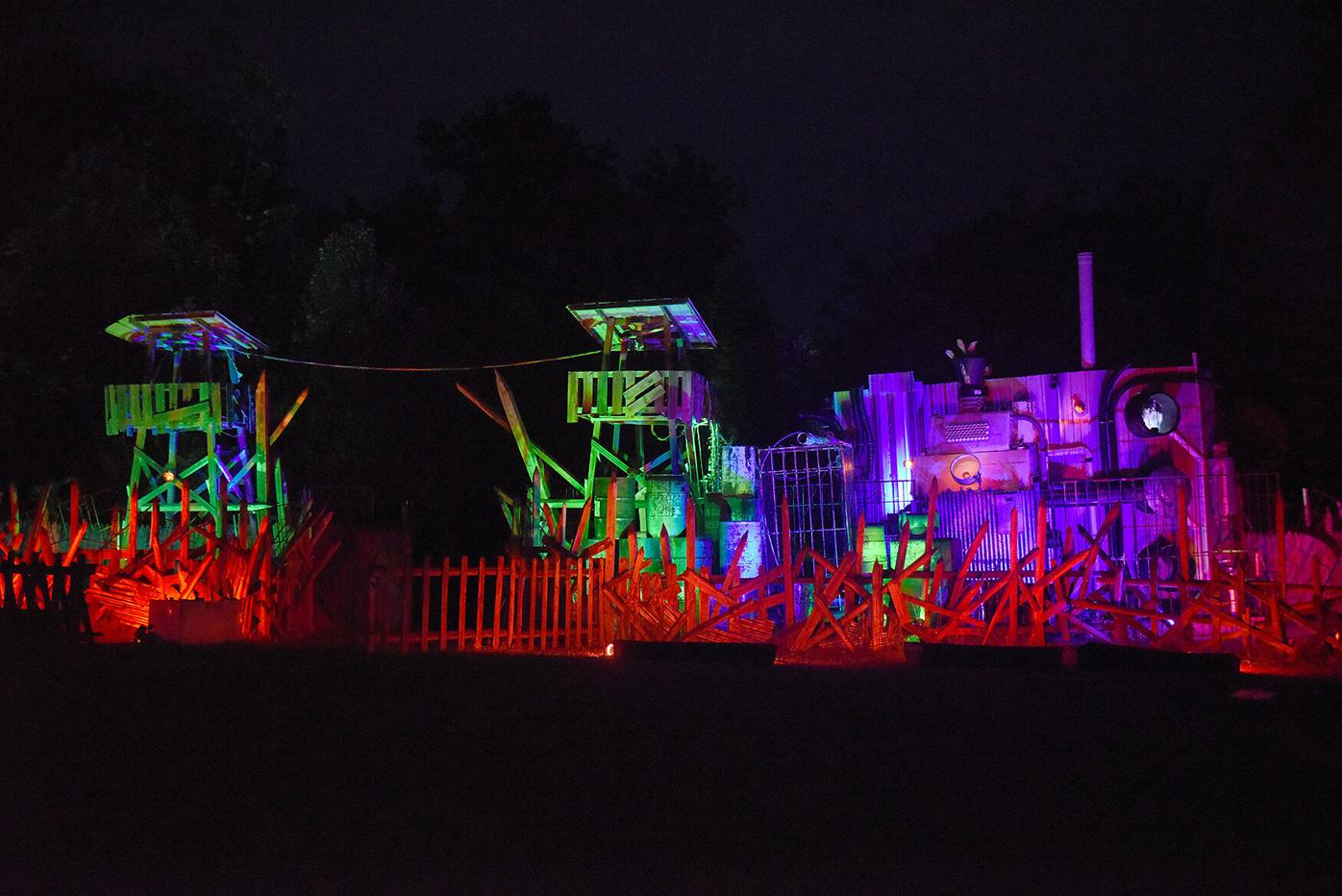 Lights illuminate the structure of Terror in the Woods