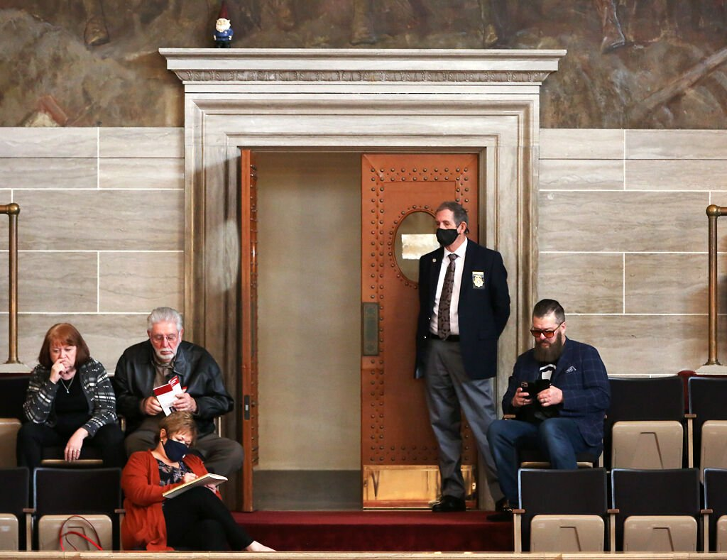 Spectators sit in the Missouri House of Representatives gallery