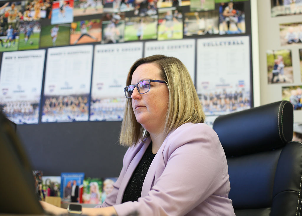 Cindy Potter works in her office