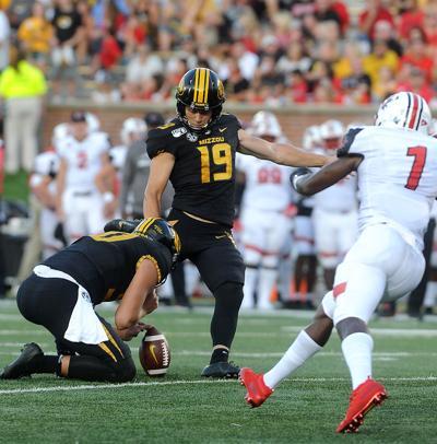 Missouri Kicker Tucker McCann attempts an extra point