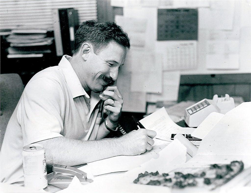 Bob Burchard takes orders for Cougar season basketball passes (copy)