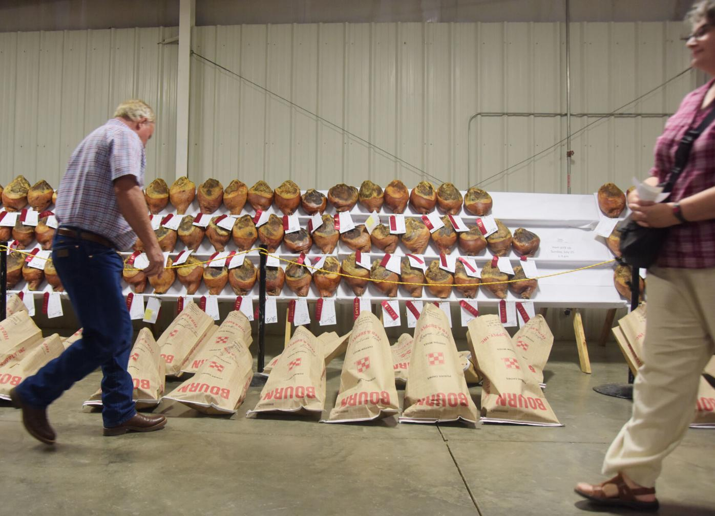 Paul Little looks at the bagged up hams