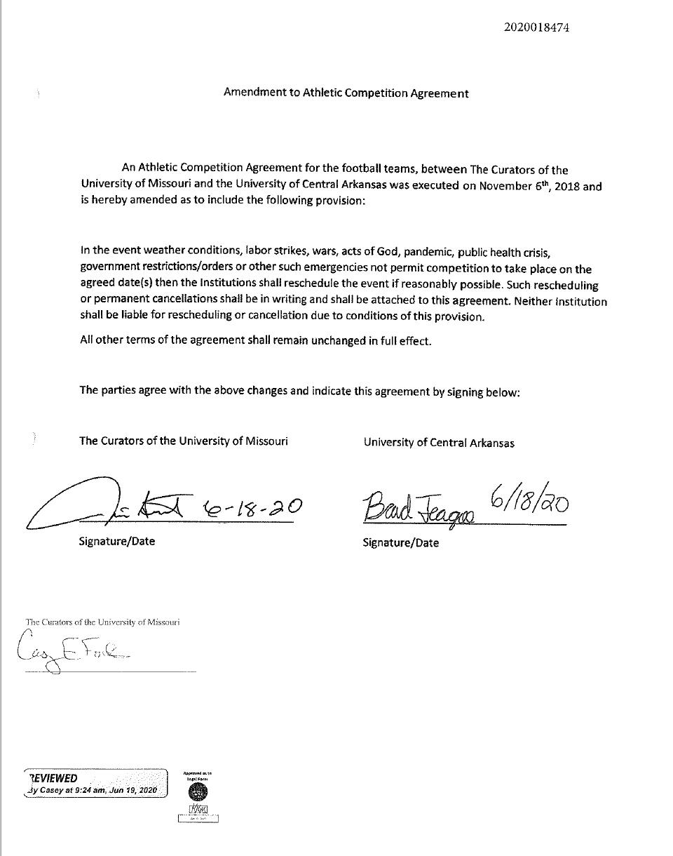Agreement b/w MU and UCA