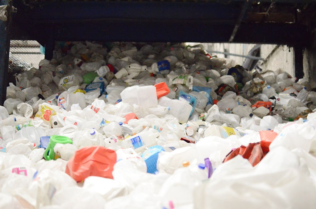 A pile of plastic sits in Columbia's recycling sorting plant