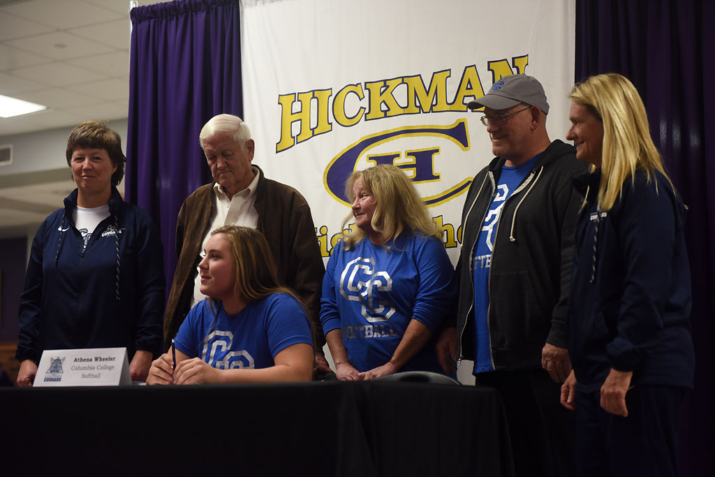 Hickman senior Athena Wheeler waits to sign for Columbia College during the first signing day for Hickman athletes