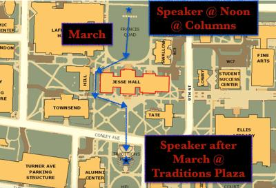 Graduate students plan to march from the Columns to Traditions Plaza