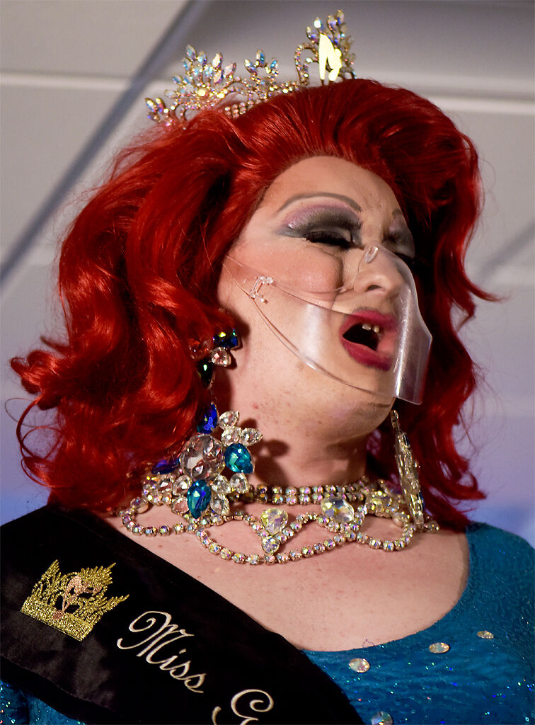 Amanda Lay lip syncs dressed as a beauty queen