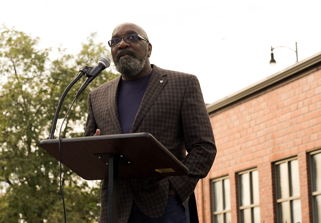 Clyde Ruffin, a first ward council member, speaks during the historical marker reveal