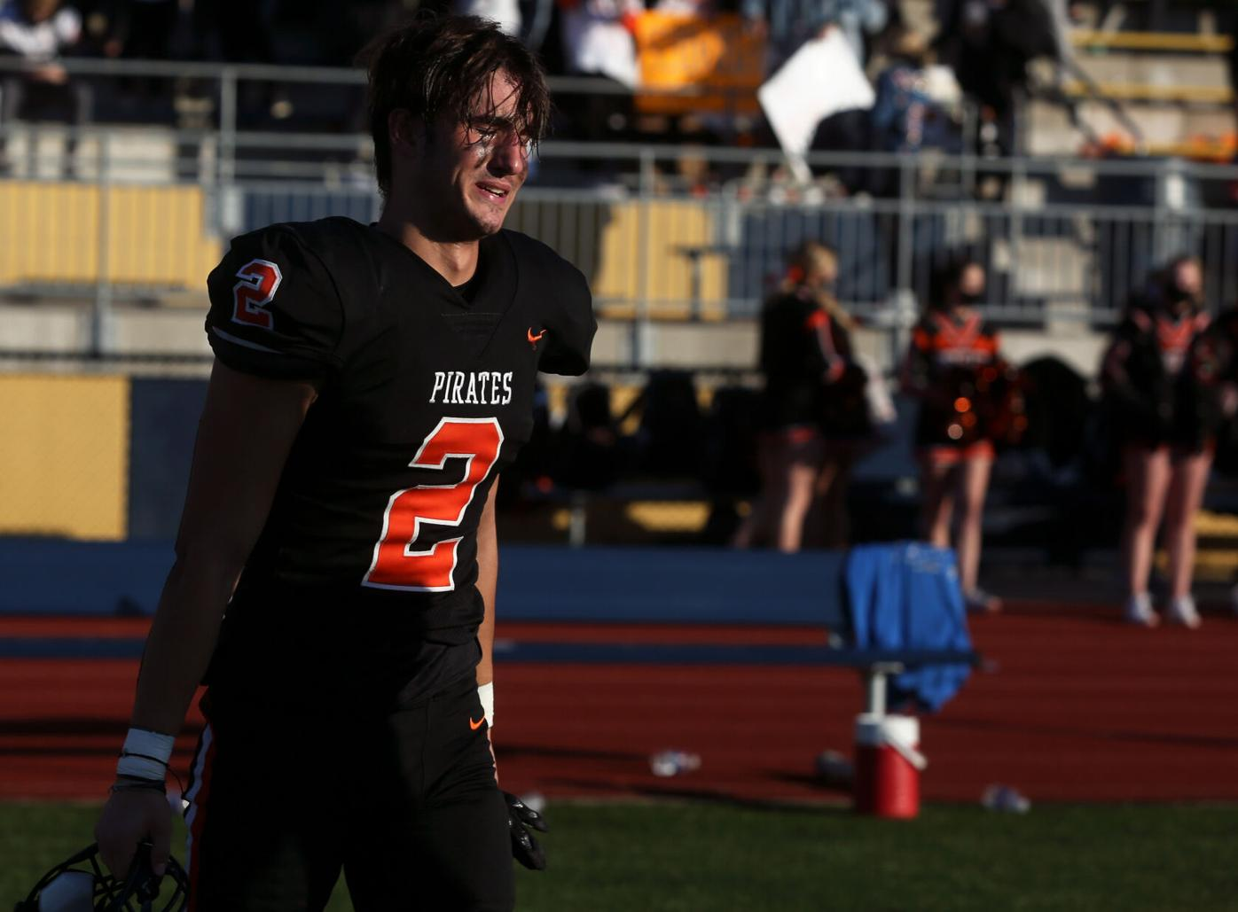 Platte County senior wide receiver Colby Rollins cries
