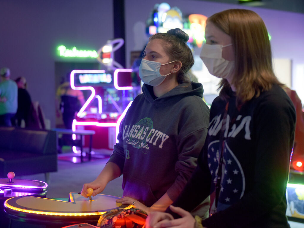 Savannah Lessley, left, plays Pacman