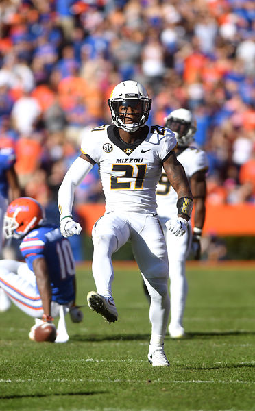 Missouri's defensive back Christian Holmes celebrates