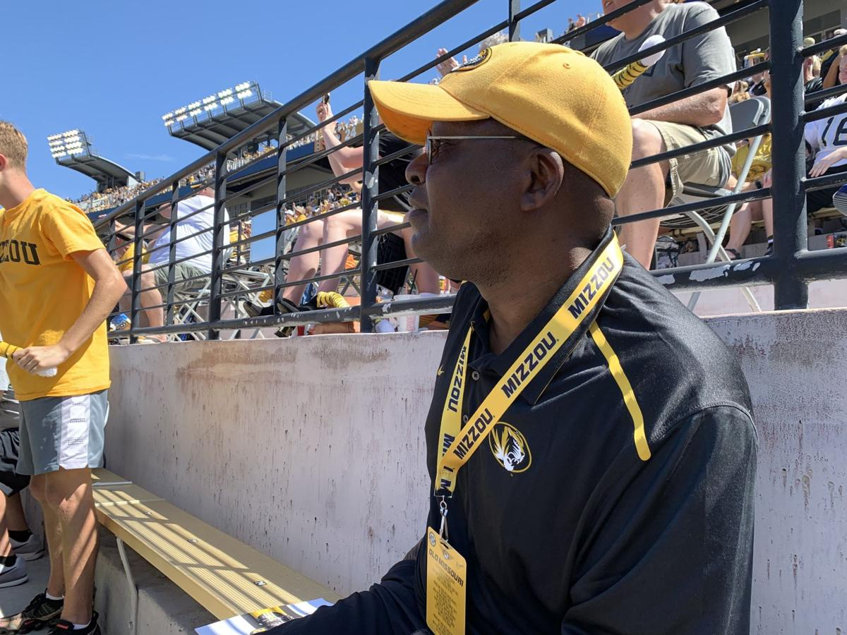 Albert Okwuegbunam Sr. watches Missouri and West Virginia intently
