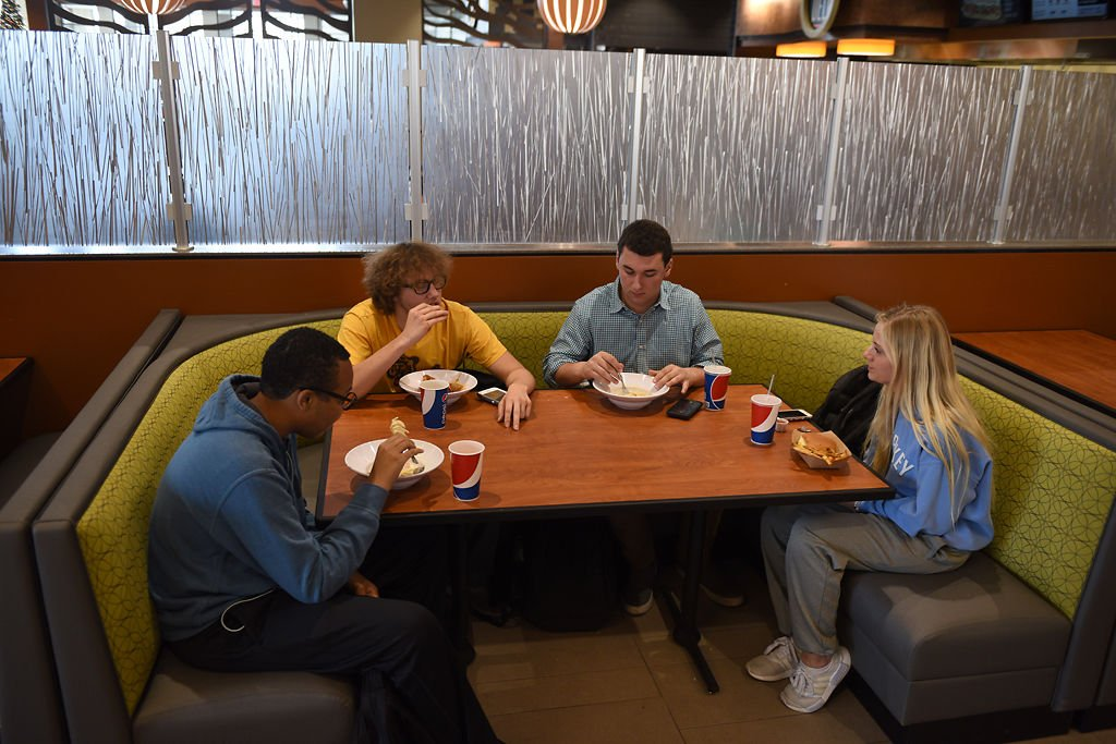 Logan Ploudre, Brody Cooper, Adam Schemberg and Hanna Haupt eat lunch