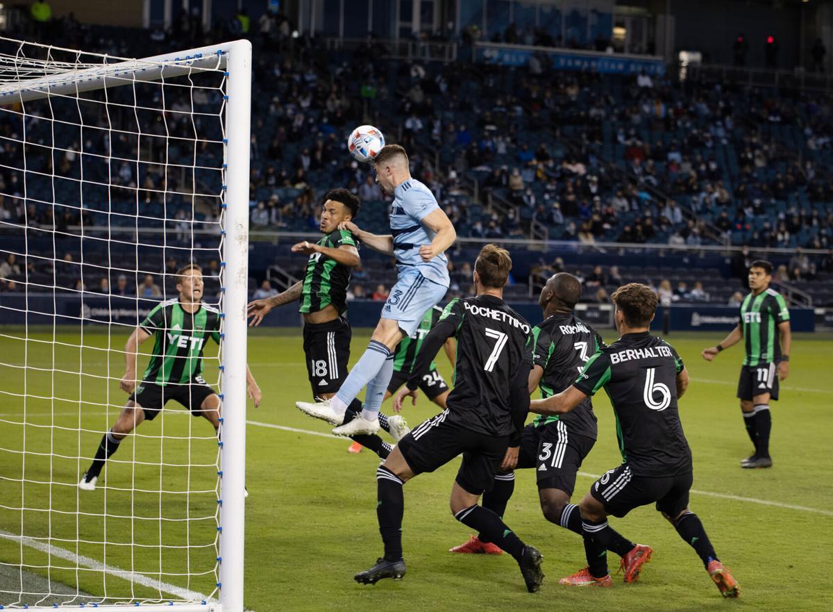 Andreu Fontas attempts to head butt the ball