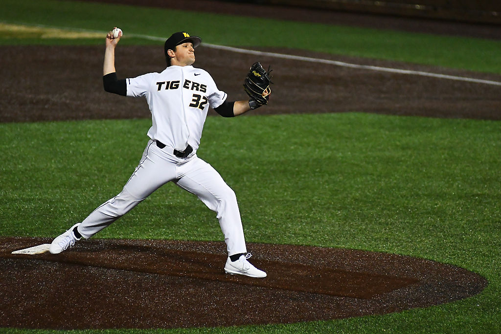 Missouri's Ian Bedell winds up a pitch