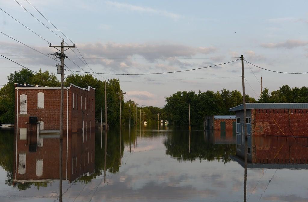 Fulton Avenue lies under flood waters