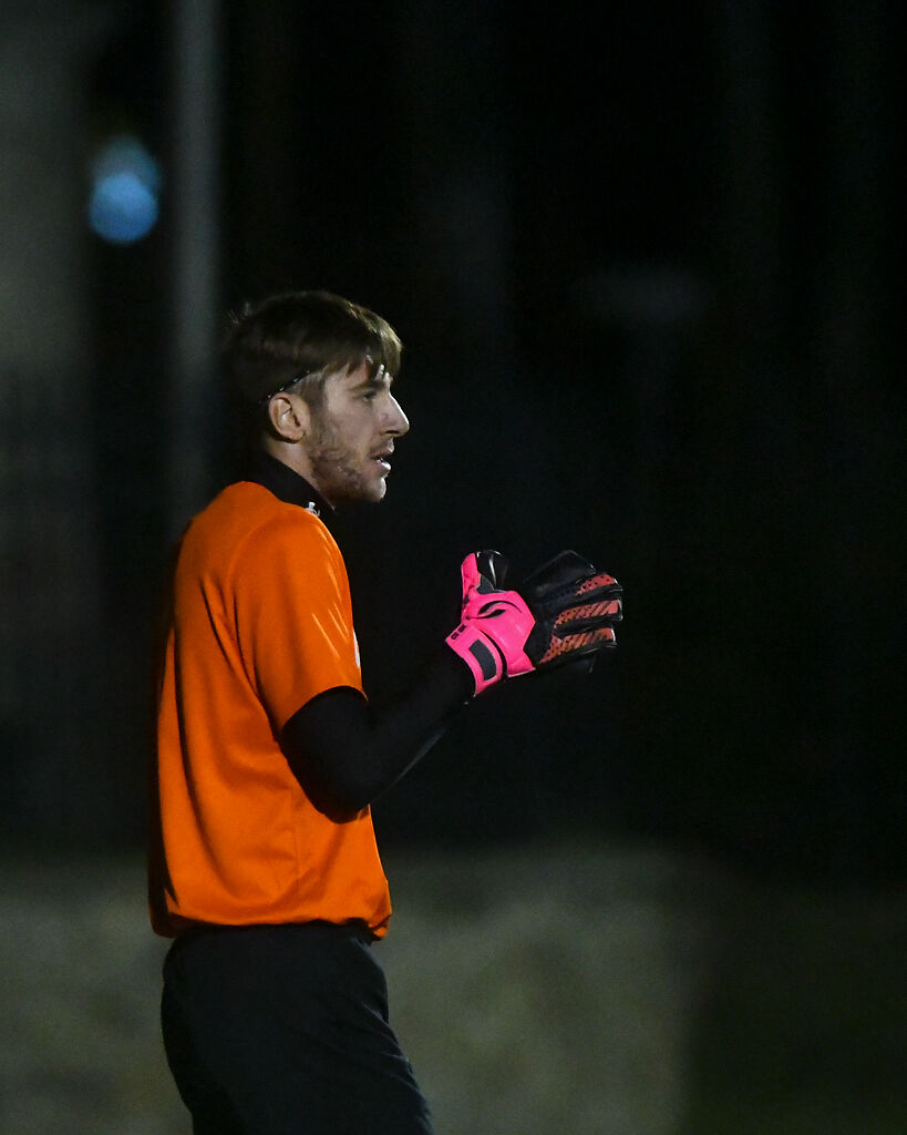Columbia College goalkeeper Liam Gibbs gets ready for an inbound ball