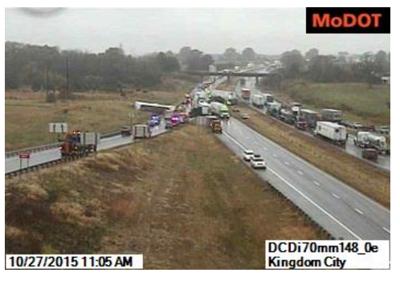 Multi-vehicle accident blocks Interstate 70 at Kingdom City