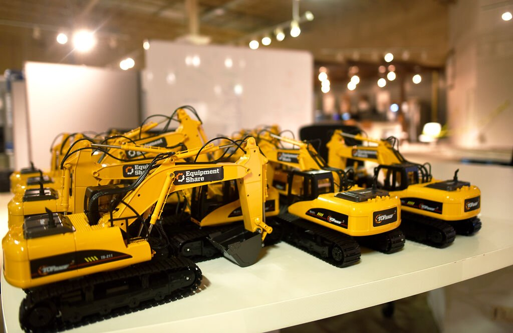 Excavator robots wait to be distributed